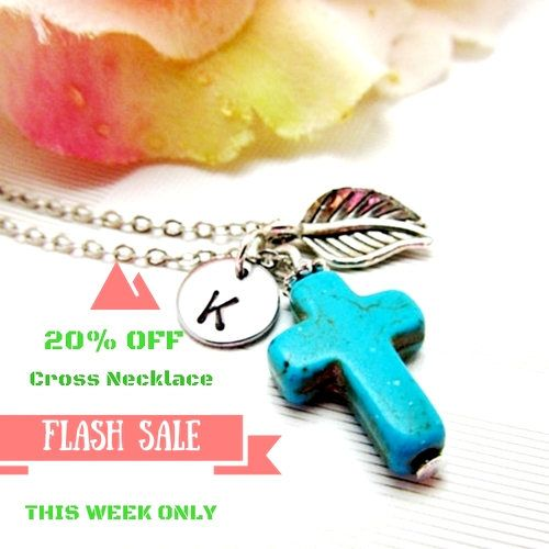 Personalized Cross Necklace Turquoise gemstone Hand stamped