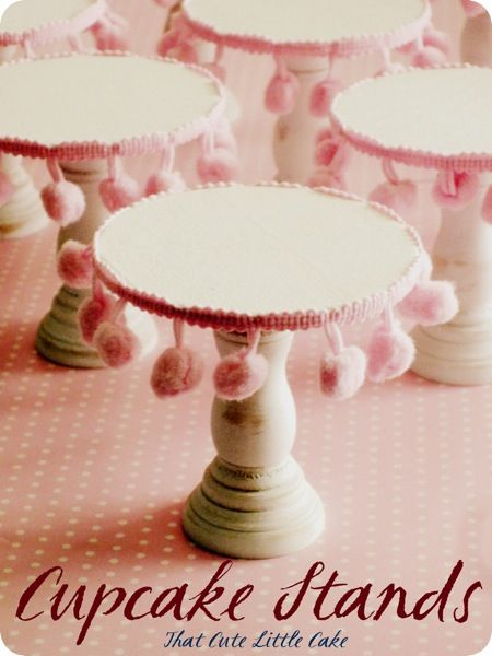 I love ball fringe so much. :)     DIY Cupcake stands :  take dollar store wooden candleholders, paint them and glue on pom pom trim. Make them in holiday colours, or in metallics for a more formal look!