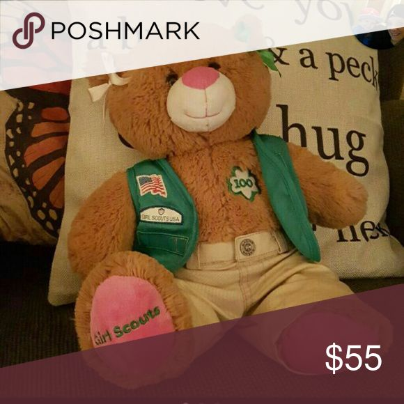 "100 Years of Girl Scouts Celebrate 100 Years of Girl Scouts with this Rare, HTF, scented, Build a Bear. She comes dressed & with an original birth certificate, however you can now print out new blank ones from the BAB website & make your own.   Look for her ""Thin Mint"" sister to follow.  PRICE IS FIRM! However will consider REASONABLE offers!  COMES FROM A SMOKE FREE HOME! Build A Bear Other"