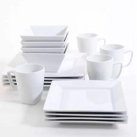 Gibson Studio Bistro Dining 16-Piece Hard Square Dinnerware Set, White