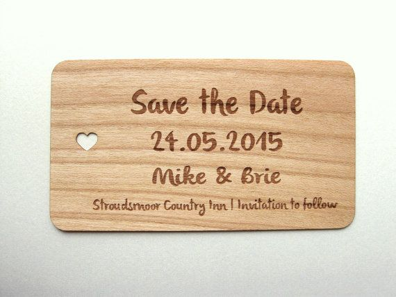 Save the date wood card 50  / Wooden Save the Date by Talathiel