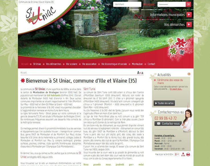 Site internet de la mairie de Saint Uniac en Ille et Vilaine, commune faisant partie de la Communauté de Communes de Montauban-de-Bretagne / Saint-Méen-le-Grand