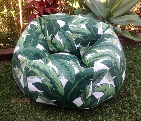 Outdoor Bean Bag Palm Leaf Adults Bean Bag, Kids Bean Bag, Tropical Indoor Outdoor Bean Bag, Poolside On the Deck, On the Grass