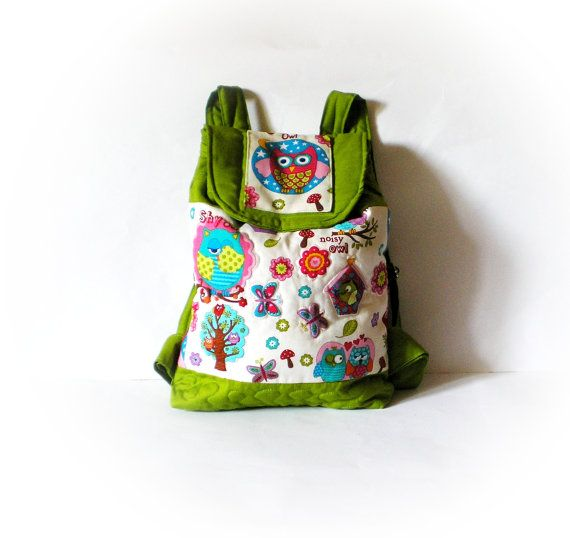 kid backpack toddler backpack with owl in olive green by Crearts, $39.00
