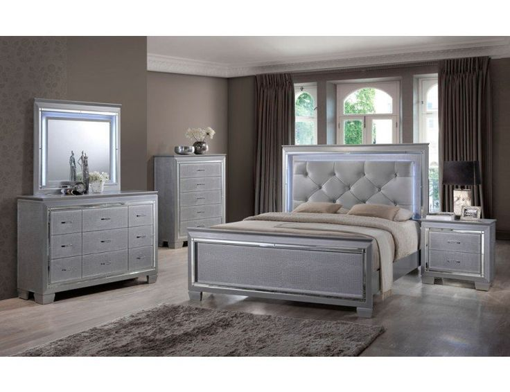 master bedroom set. Contemporary style bedroom set available in Grayish silver lacquer finish  Crystal tufted padded headboard cushion along with cool LED light trim and 58 best Bedroom Furniture images on Pinterest