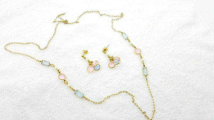 Avon Pastel Hues Necklace and Pierced earrings Mint Condition 1991 Soft and Delicate