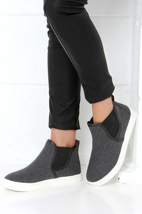 Cute Grey Sneakers - High-Top Sneakers - Slip-On Sneakers - $46.00
