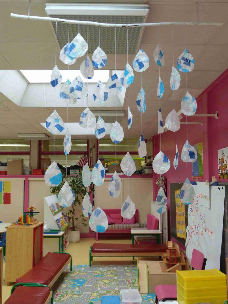 Gouttes : base de papier calque sur lequel les enfants viennent coller recto/verso des petits morceaux déchirés de papiers vitrail et papiers de soie (bleu, blanc, gris...). Classe de Moyenne Section.