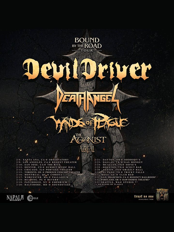 DevilDriver Bound by the Road North American Tour | DevilDriver | Death Angel | Winds of Plague | The Agonist | Azreal