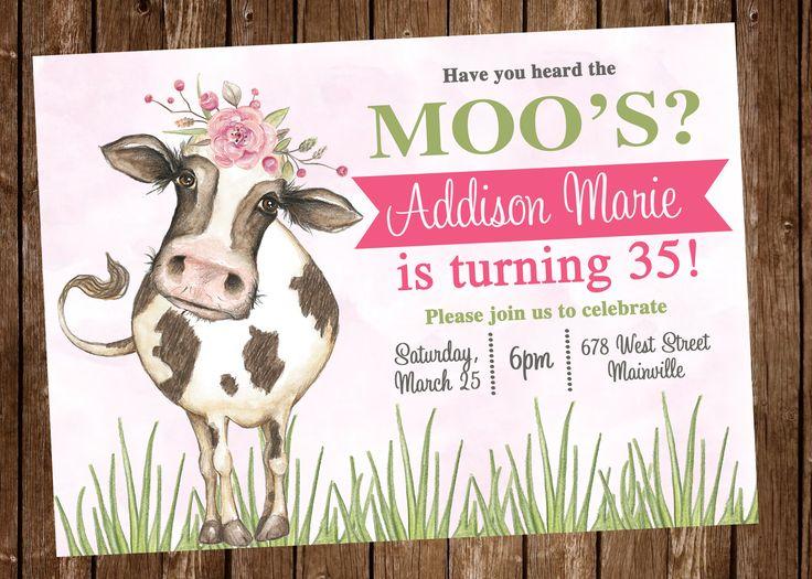 Cow, Farm, Pink, Girl, Birthday Party Invitation - Digital or Printed