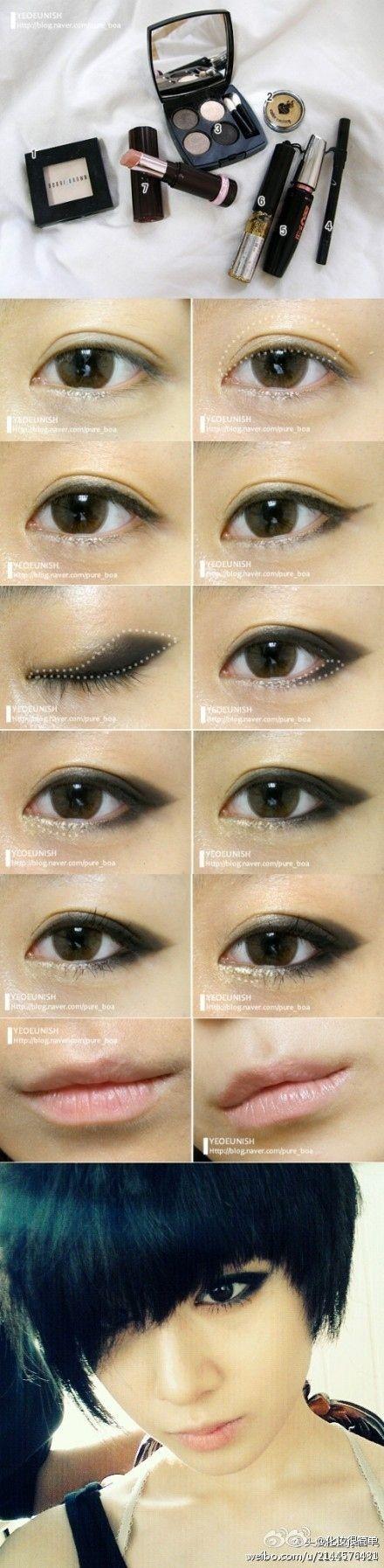 """Aplique sombra preta na forma de uma """"baleia"""" para criar esse olho esfumaçado estilo gatinho.   19 ideias incríveis de maquiagens para olhos orientais"""