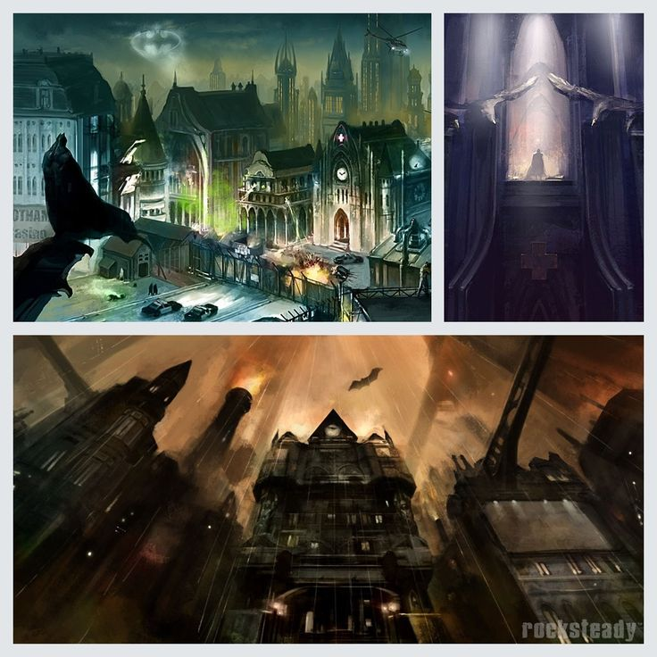 """New (old) concept art of Batman: Arkham City  """"Early concepts for the atmosphere and environments of Arkham City"""" Rocksteady Studios @RocksteadyGames  Early concepts  https://mobile.twitter.com/RocksteadyGames/status/915569880509943808"""
