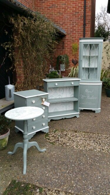 Living room set, hand painted in Annie Sloan's Duck Egg and Old White, by Imperfectly Perfect xx