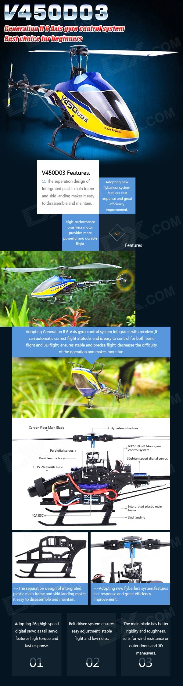 Walkera Rechargeable 6-CH Radio Control 3D Flight Stunt R/C Helicopter - Blue