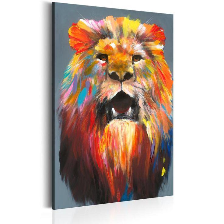 Obraz na płótnie - ręcznie malowany lew :) Wesoła dekoracja, zwłaszcza do pokoju dla dziecka lub nastolatka