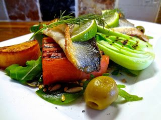 Pan-fried Sea Bass on Griddled Watermelon