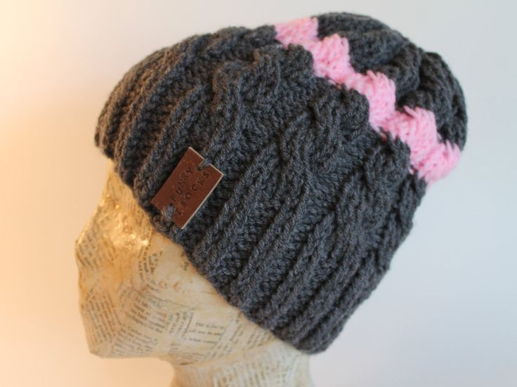Hand Made Pink and Grey Gray Cable Knitted Hat Toque Beanie by FunkieFrocks on Etsy