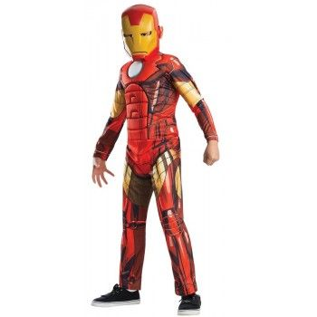 The BEST Boys Iron Man Costume complete with muscle chest jumpsuit and plastic mask!