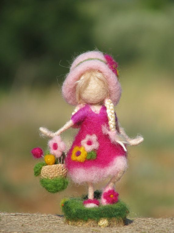 Needle felted waldorf inspired doll with flowers by Made4uByMagic ♡