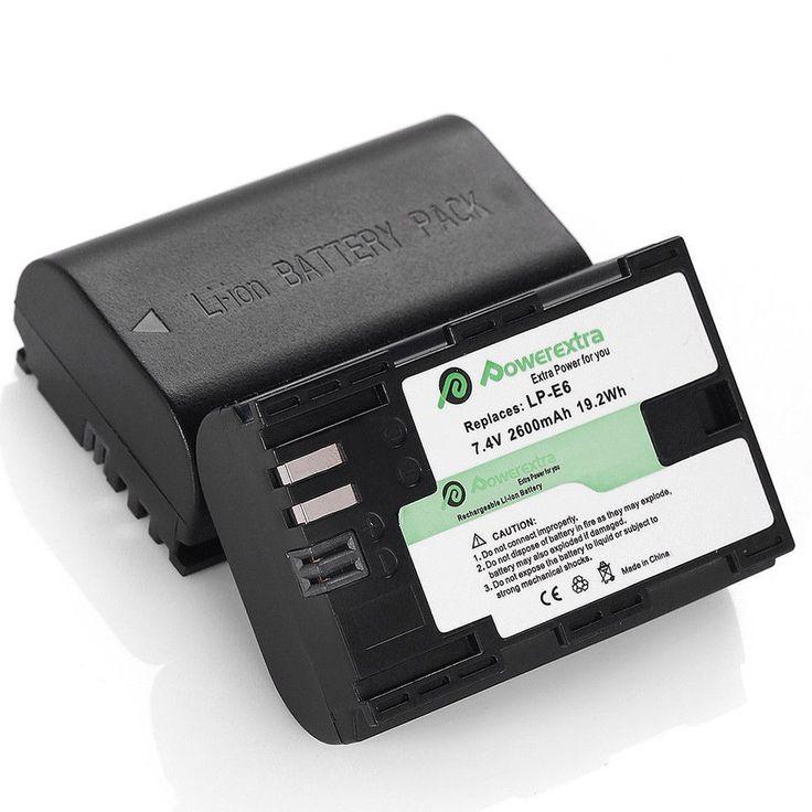 2x 2600 mAh Battery LP-E6 E6N for Canon EOS 5DS 5D Mark II III IV 7D 60D 70D 80D #Powerextra