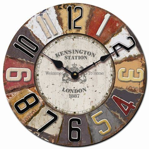 horloge murale design london shabby ronde 60cm nostalgie. Black Bedroom Furniture Sets. Home Design Ideas