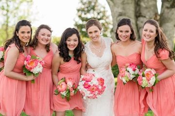 11 Never-Fail Bridesmaid Dress Ideas - Coral and lace, same color and fabric but different dress styles