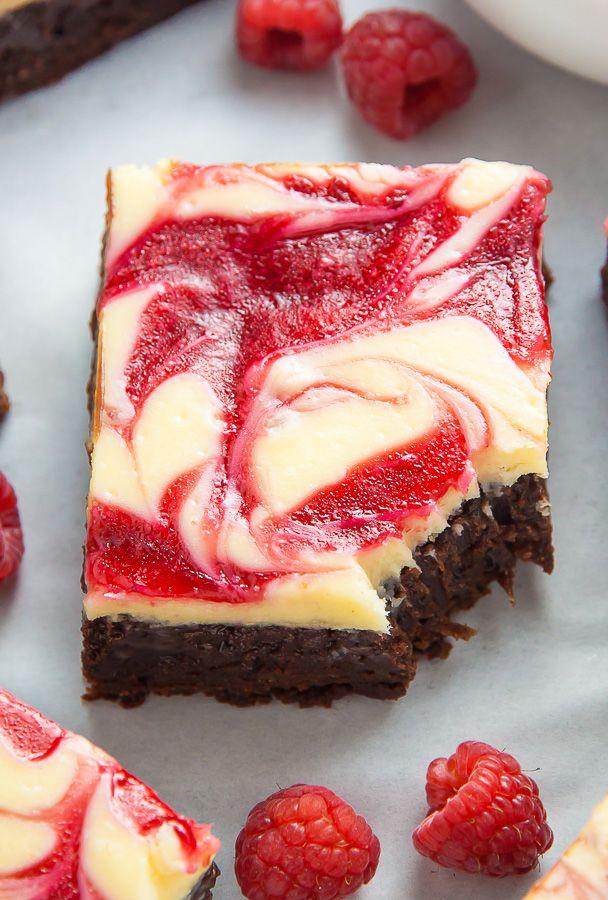 Witte chocolade framboos brownie