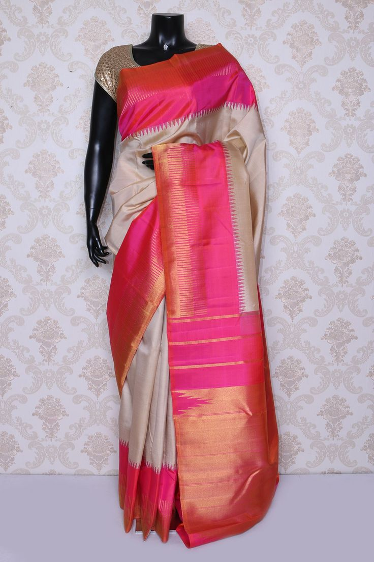 Gorgeous #beige pure #kanchipuram silk zari weaved #saree -SR14068