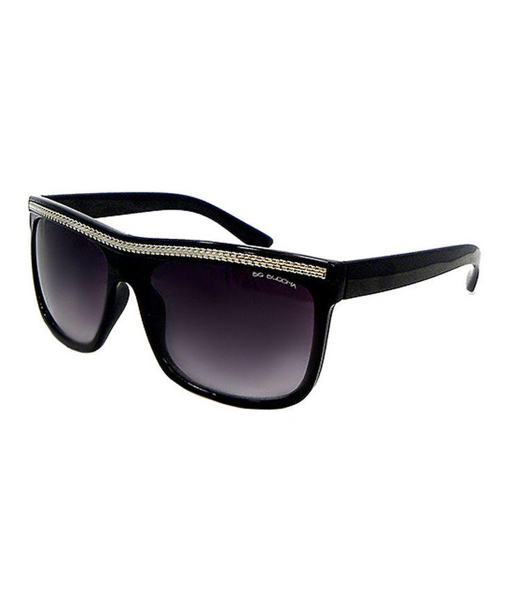 Big Buddha Black Chain Link Flat-Top Sunglasses by Big Buddha #zulily #zulilyfinds