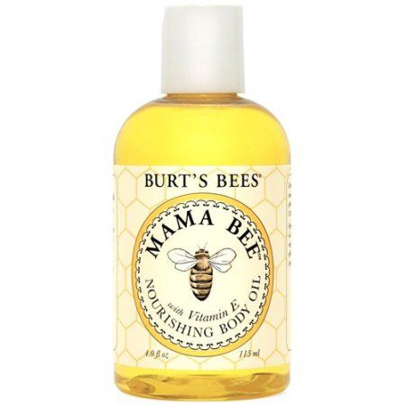Keep your skin supple and soft with 100% natural Burt's Bees Mama Bee Nourishing Body Oil. This lightweight, all-natural body oil is made with sweet almond and lemon oils and vitamin E to recondition skin throughout your pregnancy. Available at Walmart.com.