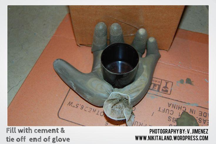 DIY Cement Hand Tealight Holder