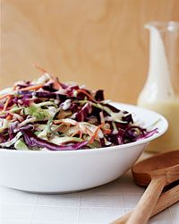 Asian Coleslaw with Miso-Ginger Dressing: Go-to Side Dish: This crisp, fresh coleslaw is tossed with a healthy miso-ginger dressing rather than the traditional mayonnaise. Extra dressing is great on noodle salads or over fish.