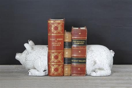5-1/4H Terra Cotta Pig Bookends, #Antique White, Set of 2