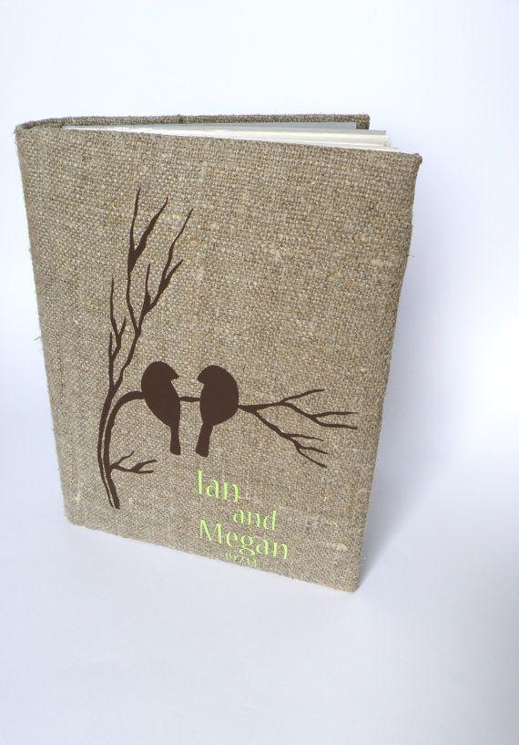 Wedding rustic photo album burlap Linen Bridal shower anniversary Brown birds on branch on Etsy, $55.00