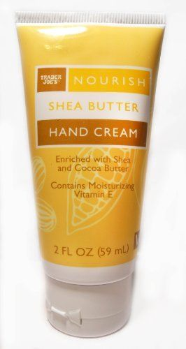 Trader Joe's Nourish Shea Butter Hand Cream by Trader Joe's. $9.20. Abundant in natural moisturizers like shea butter, cocoa butter and almond oil, Trader Joe's Nourish Shea Butter Hand Cream is rich without being greasy. It also contains moisturizing vitamin E and sunflower oil, to help guard against the elements.