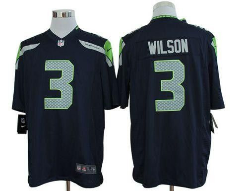 Russell Wilson Nike Elite NFL football jersey ( Steel blue)