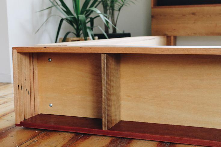 Platform bookshelf bed made out of recycled timber, handmade by Al + Imo   www.alandimohandmade.com.au  MELB . SURF COAST . AUS
