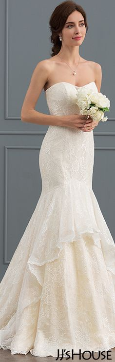 Mermaid Sweetheart Court Train Lace Wedding Dress#JJsHouse #Wedding dresses