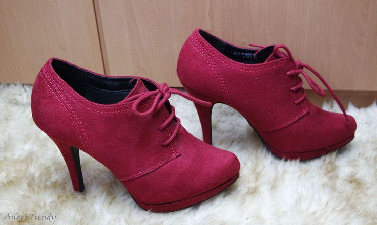 Damenschuhe Absatz 10,2cm pateau 1,3 cm fashion Rot bordeaux  Graceland