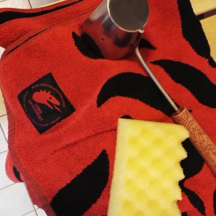 Bath day  #Sauna #SAWO #SAWODRAGONFIRE #Towel #loofah #Kauha #Pesusieni #Pyyhe #Ladle #Saunaday