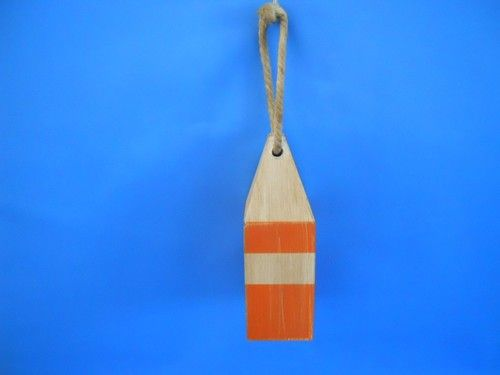 "Wooden Rustic Orange Chesapeake Bay Decorative Crab Trap Buoy 8"""""