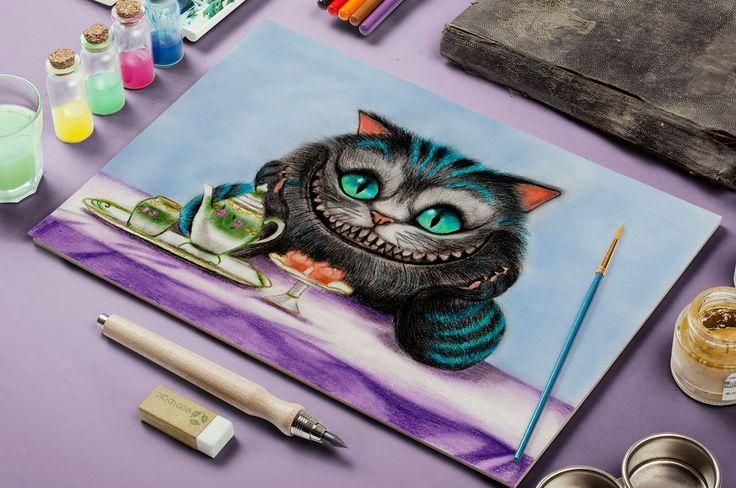 """Портфолио Гаджиевой Марианны , """"Чеширский кот"""" , рисунок от руки , пастель, акварельные карандаши"""