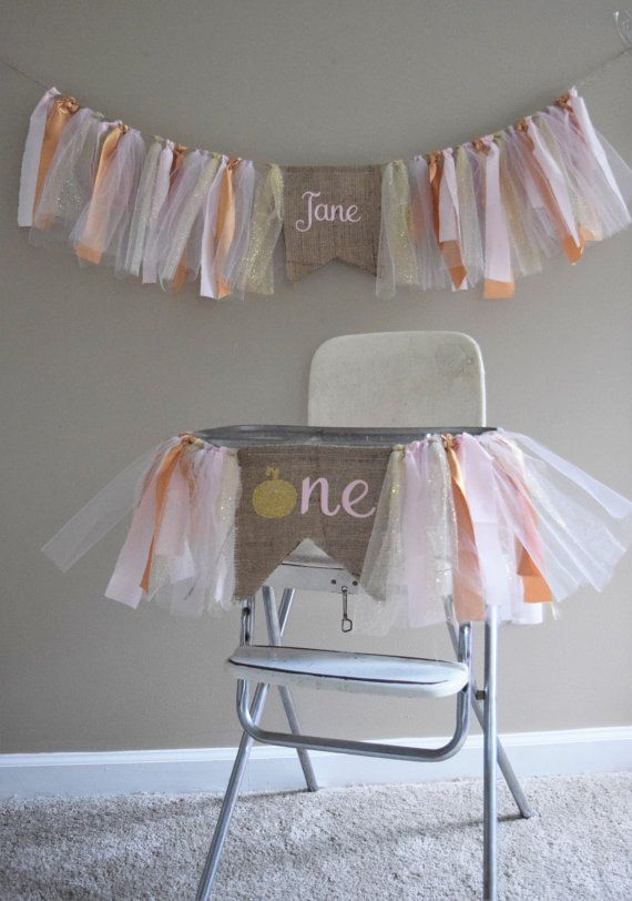 Fall birthday banners.Pumpkin first birthday.Burlap and tulle