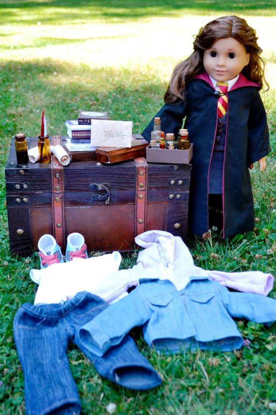 American Girl Doll Harry Potter- Hermione Granger Custom Doll, Clothes, Trunk, Potions, Books by KateLaurenDesigns, $350.00