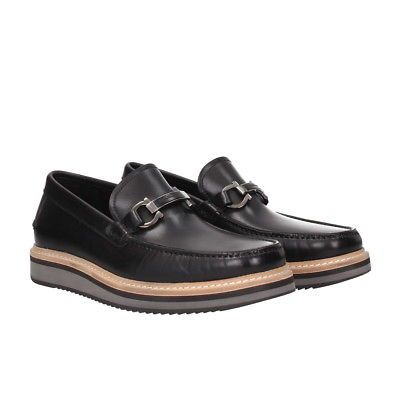 b211c72c075 SALVATORE FERRAGAMO Leather Loafers 5.5US 4.5UK 38.5EU Black Gancini Shoes  NWB