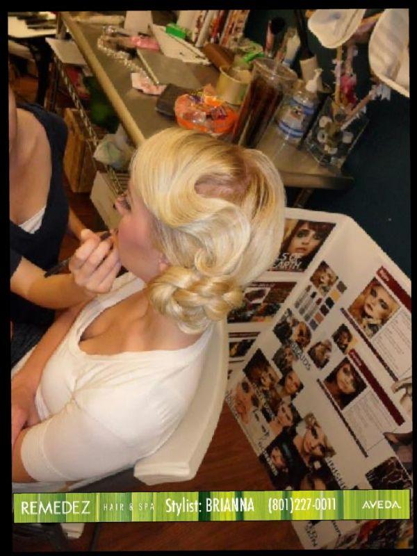 Hair by Brianna Jensen at Remedez Hairspa (801)227-0011  Finger wave, updo, prom hair, wedding hair, braid