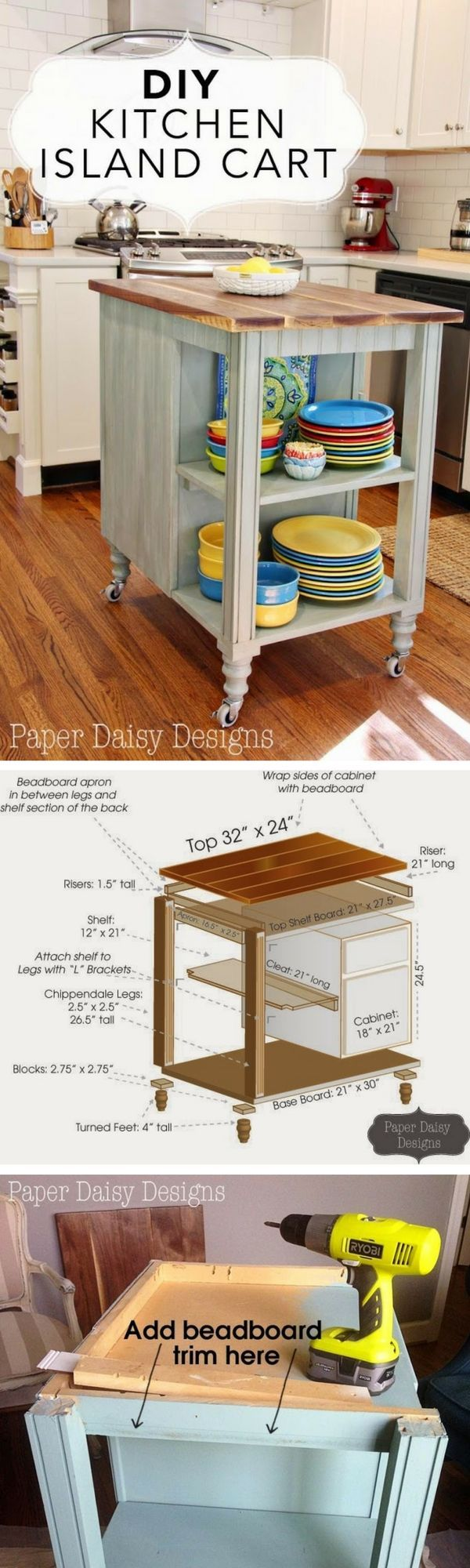 Check out the tutorial on how to build a DIY kitchen island cart @istandarddesign
