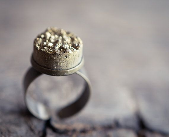 Gold Druzy Ring Adjustable Cocktail Statement Ring by daimblond