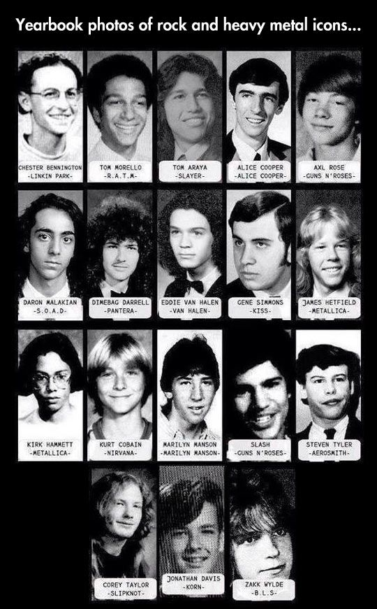 The High School Years Of Rock..... I love them all even though manson is my fave Kurt cobain I'd pretty close