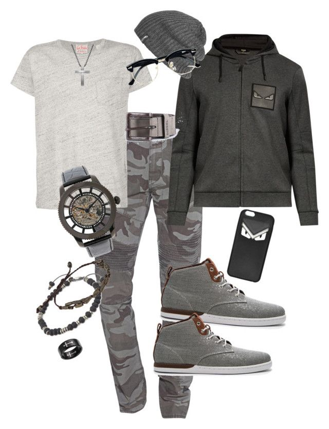 """""""Military Suave'"""" by kayjayfashionway on Polyvore featuring True Religion, Levi's, Fendi, Creative Recreation, M. Cohen, Scotch & Soda, Steven by Steve Madden, Invicta, Outdoor Research and Topman"""